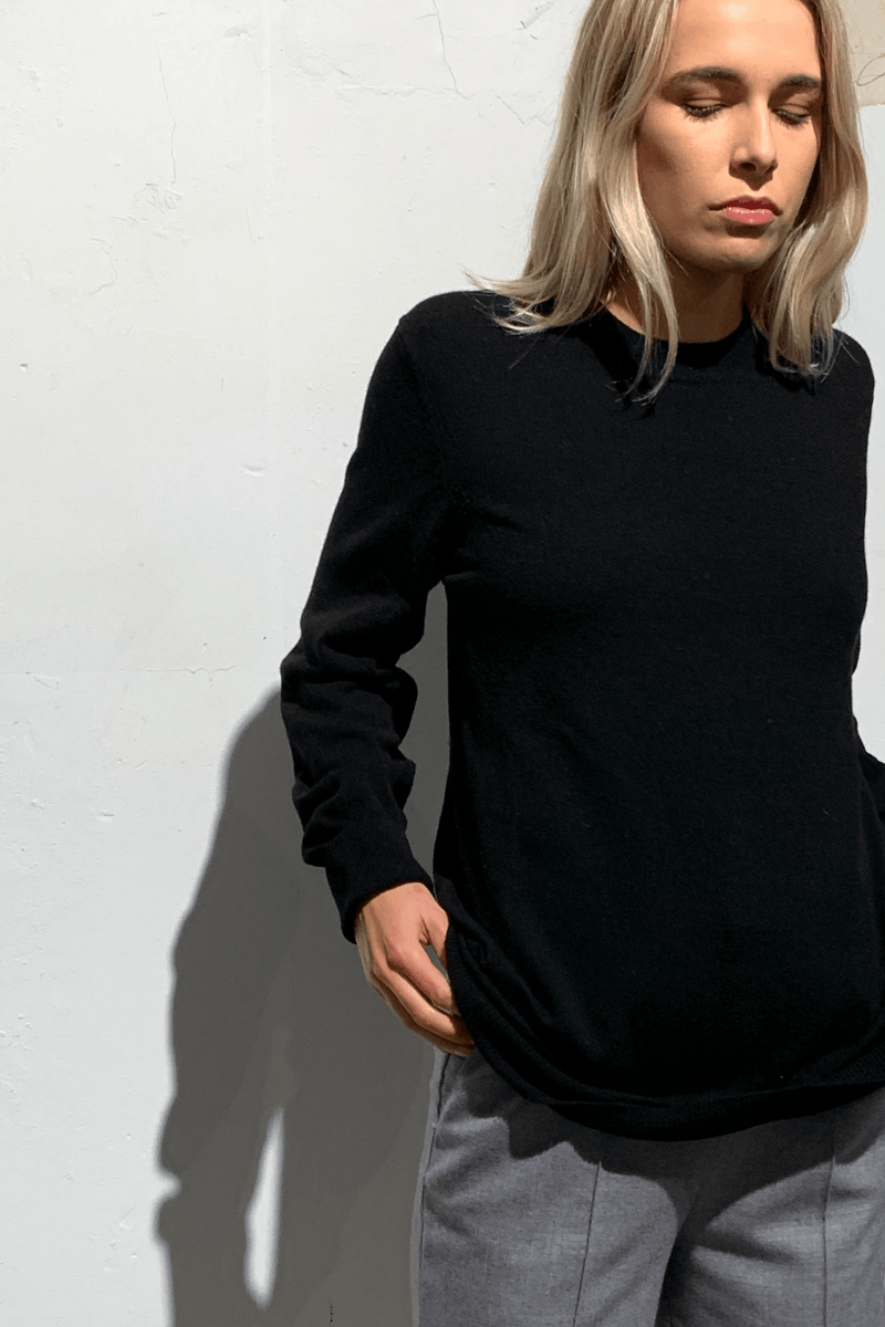 BLACK YOHJI MERINO CASHMERE KNIT - Nique Clothing