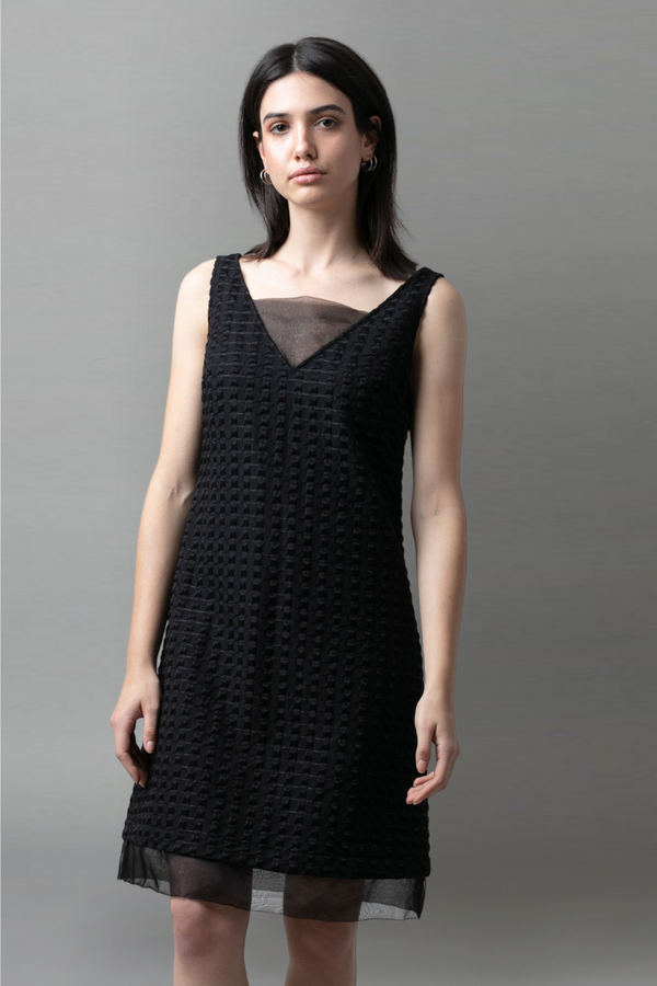 Black Embroidered Panel Dress