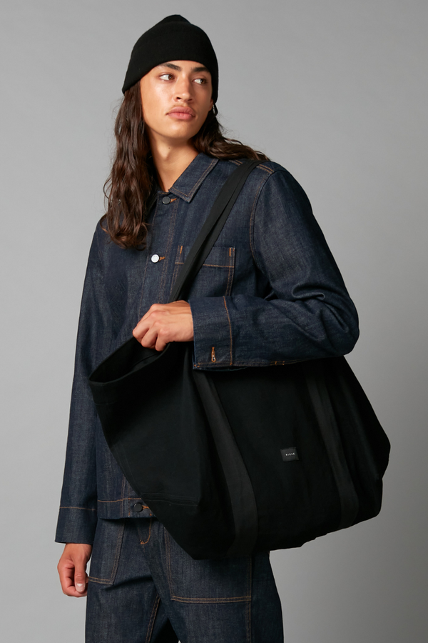 Black Denim Oversized Tote Bag