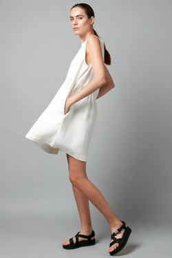 White Fumita Linen Mini Dress