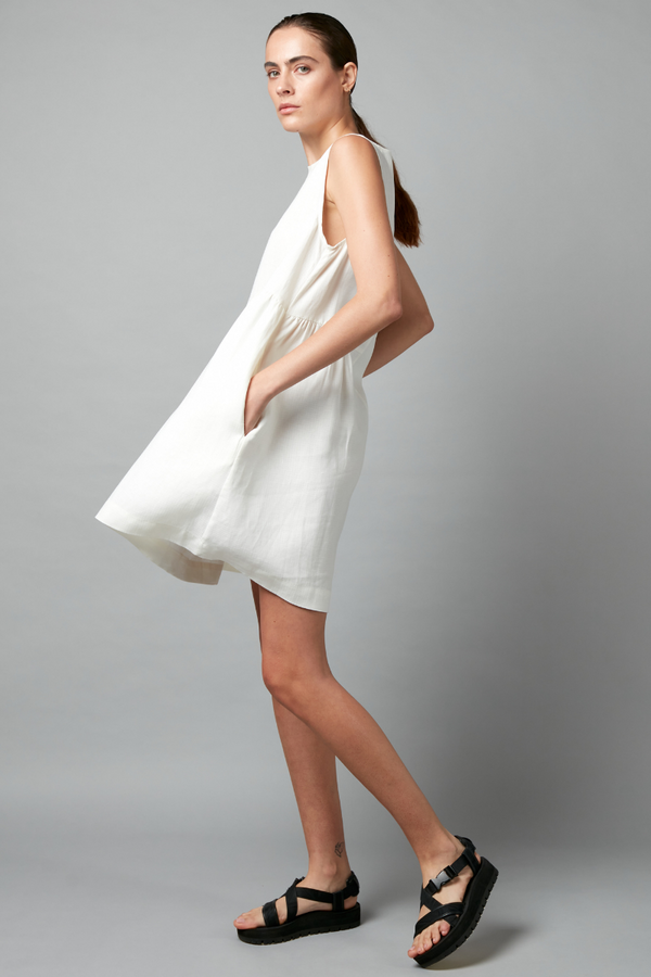 White Fumita Geode Linen Mini Dress
