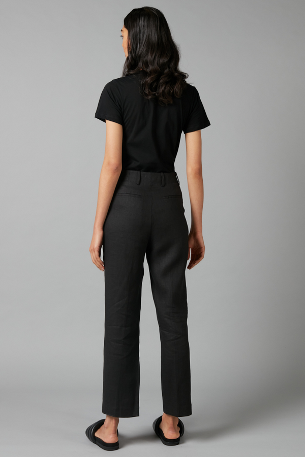 BLACK SHARP LINEN TAILORED PANT