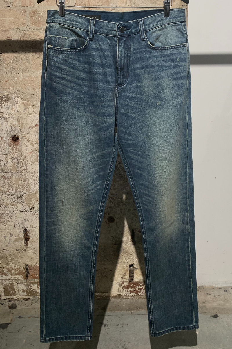 Mid Blue Relaxed Drop Crotch Tapered Jean
