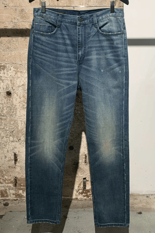 MID BLUE SLOUCH MID RISE TAPERED JEAN - Nique Clothing