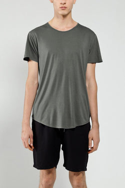 KHAKI CREW NECK COTTON TEE - Nique Clothing