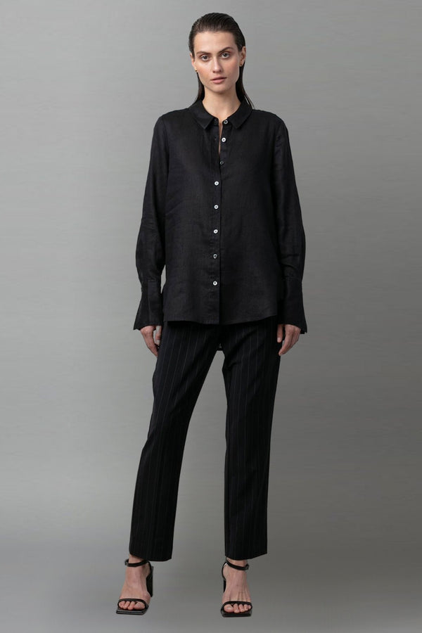 BLACK ATSUKI LINEN SHIRT - Nique Clothing