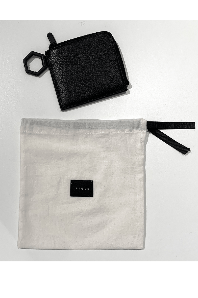 BLACK LEATHER KI COIN PURSE - Nique Clothing