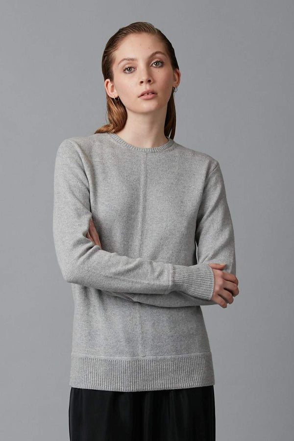 SILVER GREY MELANGE HIKARI COTTON WOOL BLEND KNIT - Nique Clothing