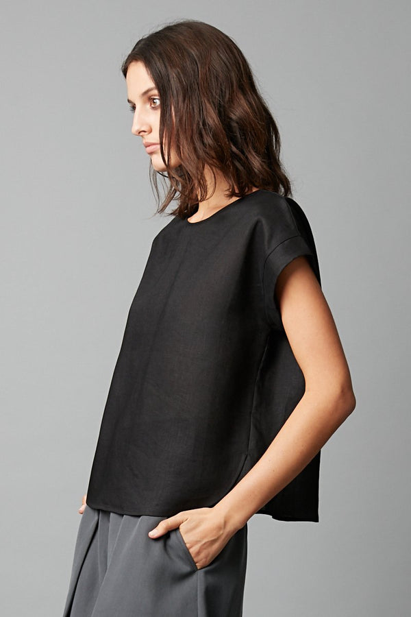 BLACK HANAE LINEN TOP - Nique Clothing