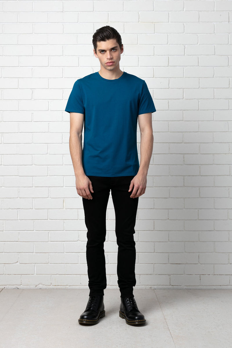 STEEL BLUE SLIM COTTON MODAL SHIRT - Nique Clothing