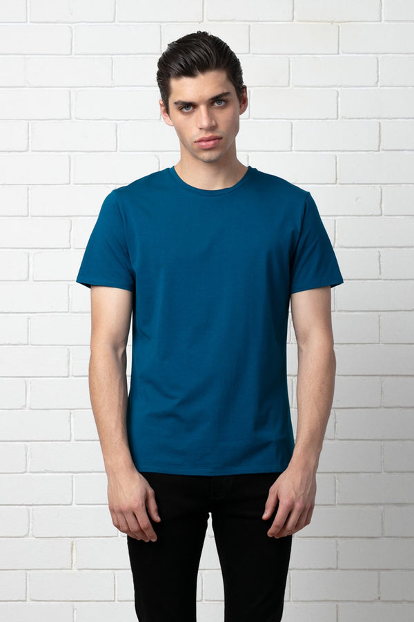STEEL BLUE SLIM COTTON MODAL SHIRT