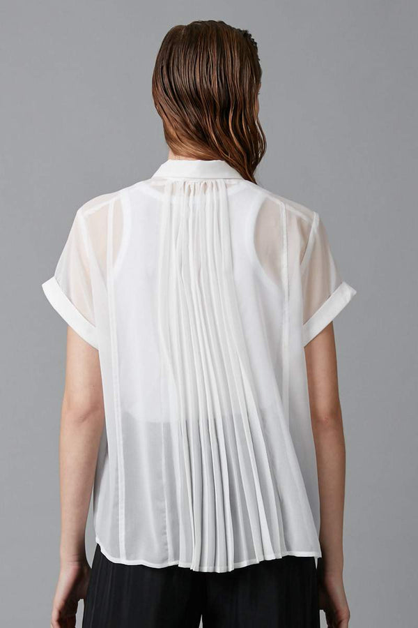 WHITE JINTO PLEAT BACK SHIRT - Nique Clothing
