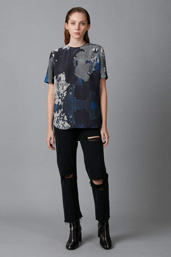 BLUE BIG SKY PRINT CHIE SILK TEE - Nique Clothing