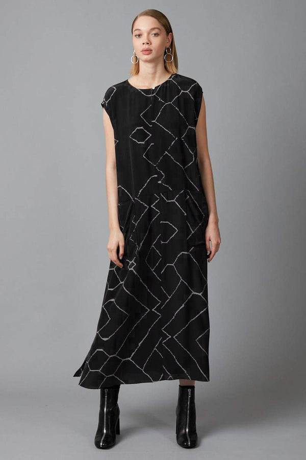 BLACK AYANU REQUIEM PRINT SILK DRESS - Nique Clothing