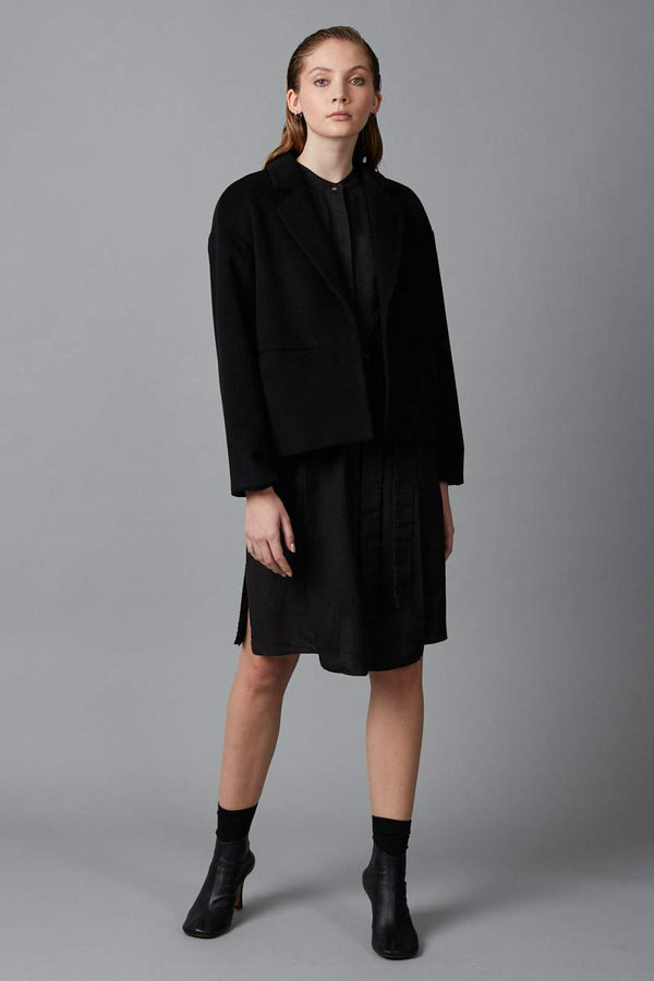BLACK AMAYE CROPPED WOOL JACKET - Nique Clothing