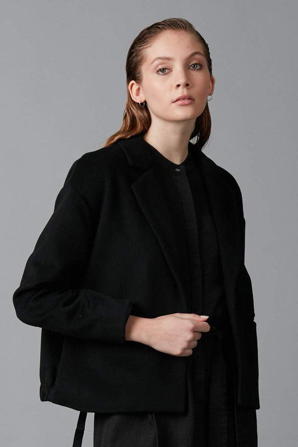 BLACK AMAYE CROPPED WOOL JACKET
