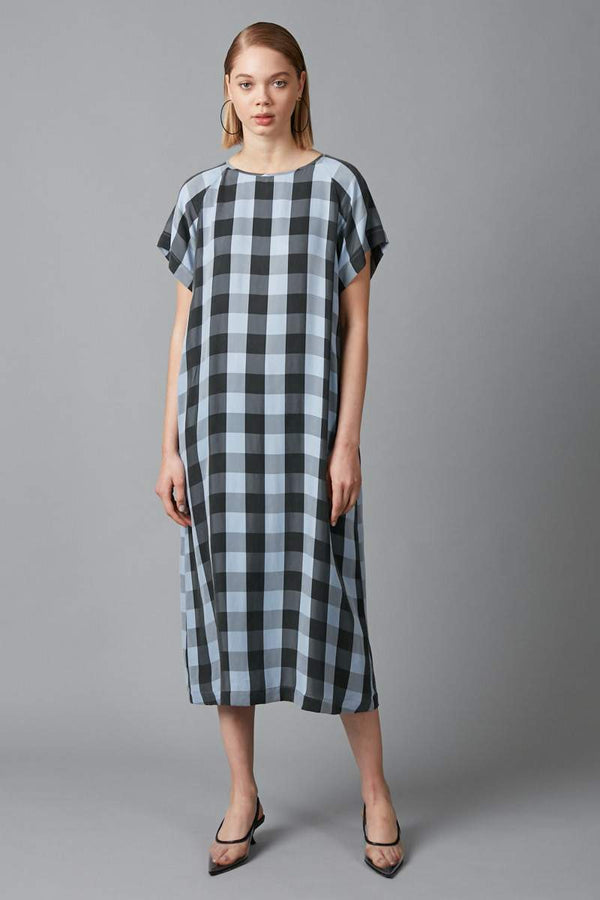 POWDER BLUE CHECK CUPRO WAI DRESS - Nique Clothing