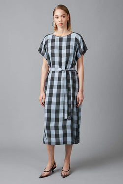 POWDER BLUE CHECK CUPRO WAI DRESS