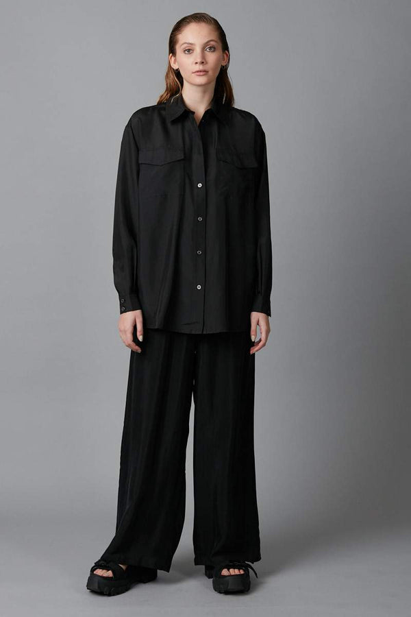 BLACK BOX POCKET SILK SHIRT - Nique Clothing