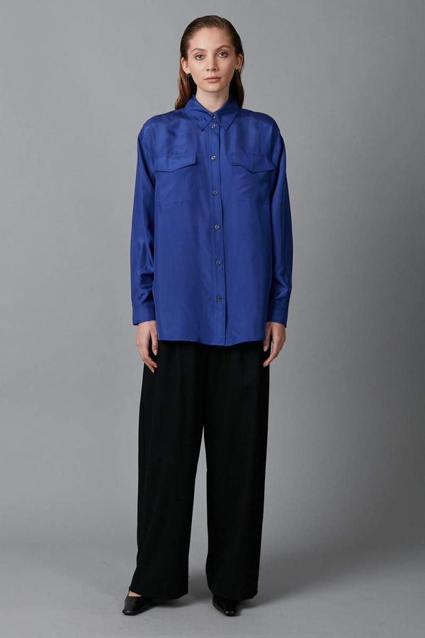 ELECTRIC BLUE BOX POCKET SILK SHIRT - Nique Clothing