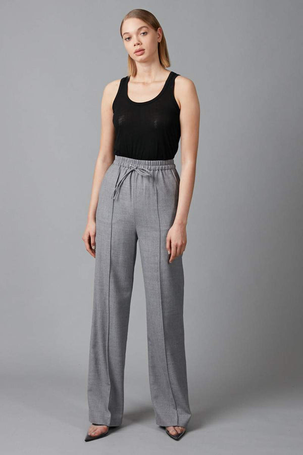 GREY SUTO WOOL WIDE LEG PANT