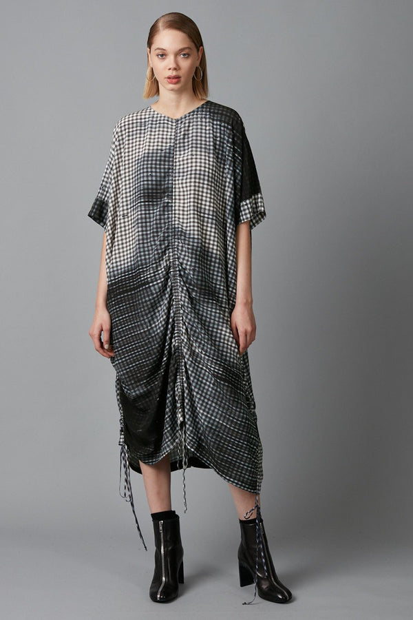 CHECK HEIHO NOSTALGIA PRINT DRESS