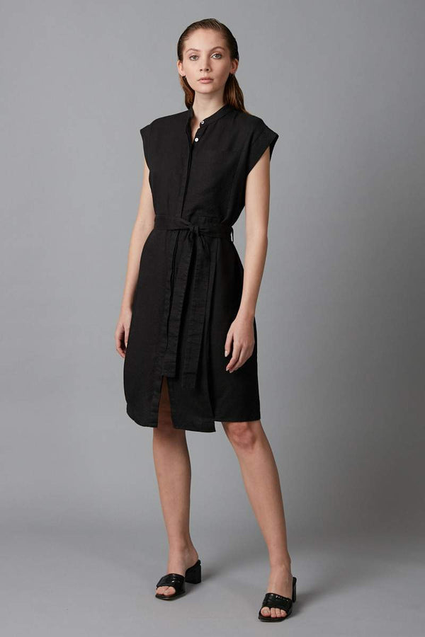 BLACK GEODE LINEN DRESS - Nique Clothing