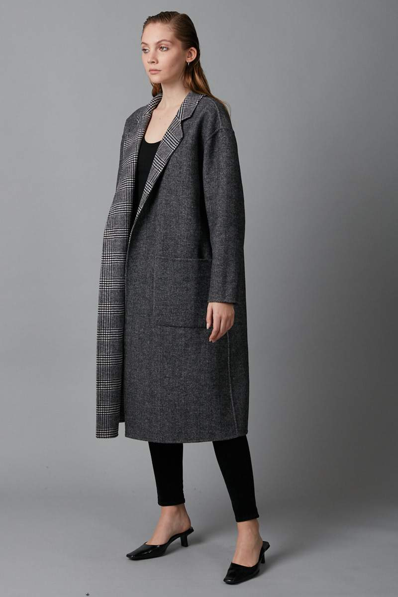 BLACK/GREY REVERSIBLE MAAYA COAT - Nique Clothing