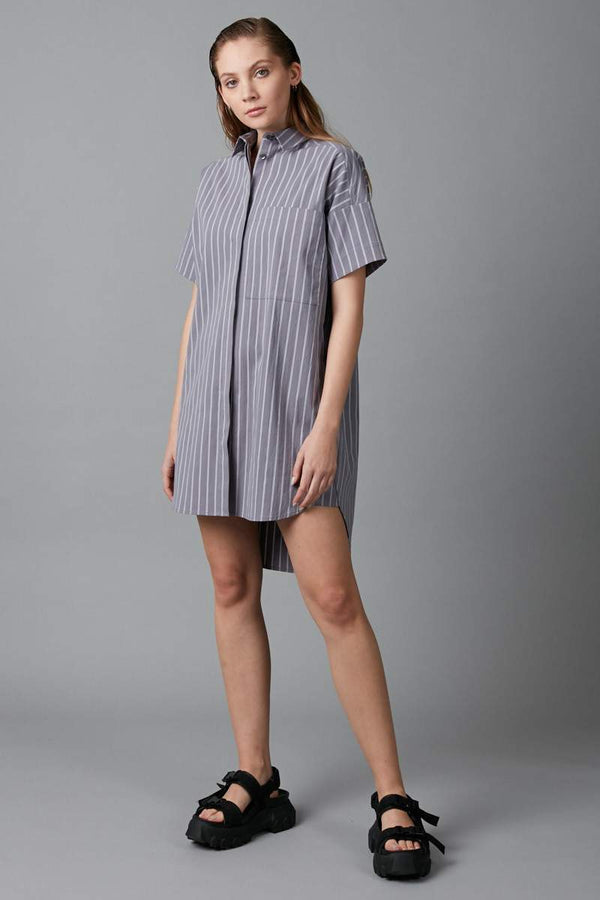 LILAC STRIPED TEEKO COTTON SHIRT DRESS