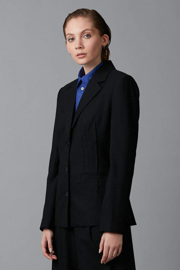 BLACK DART WOOL FITTED JACKET - Nique Clothing