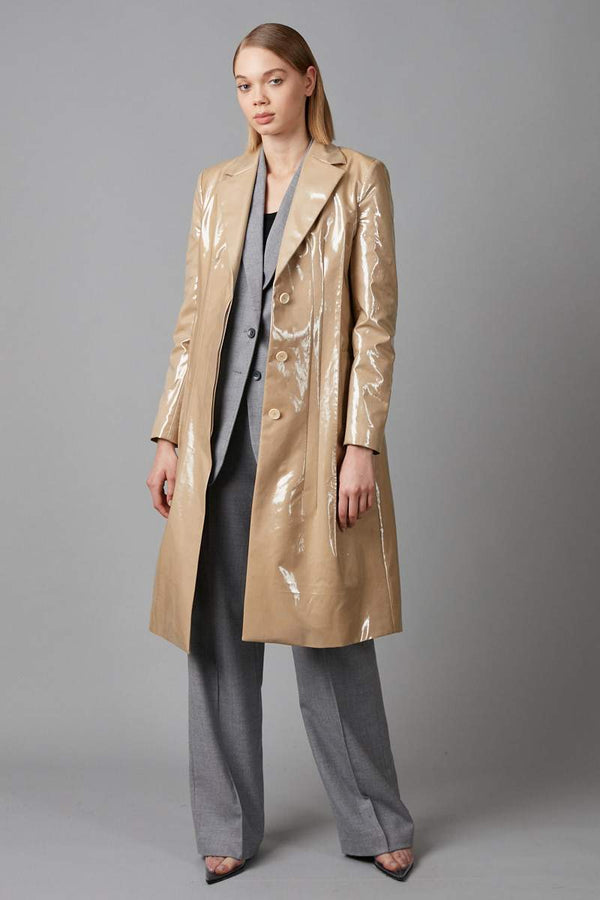 BEIGE DART PATENT COAT - Nique Clothing