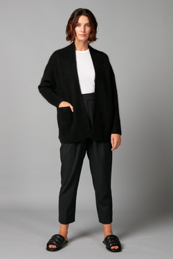 Black Akine Mohair-blend Knit Cardigan