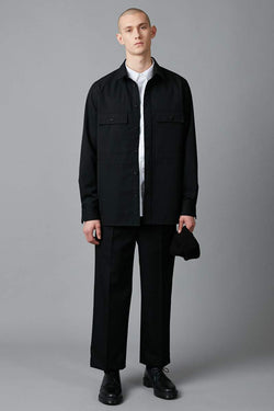 BLACK YOSAMA WOOL OVER SHIRT