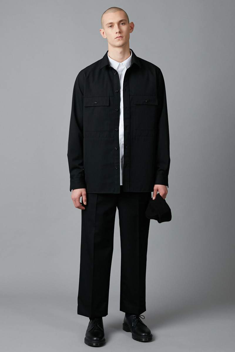 BLACK YOSAMA WOOL OVER SHIRT - Nique Clothing