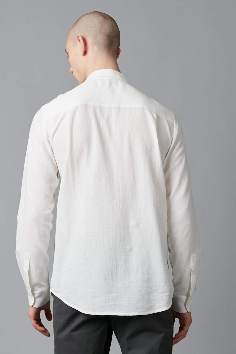 WHITE EQUALS SLIM LONG SLEEVE COTTON SHIRT - Nique Clothing
