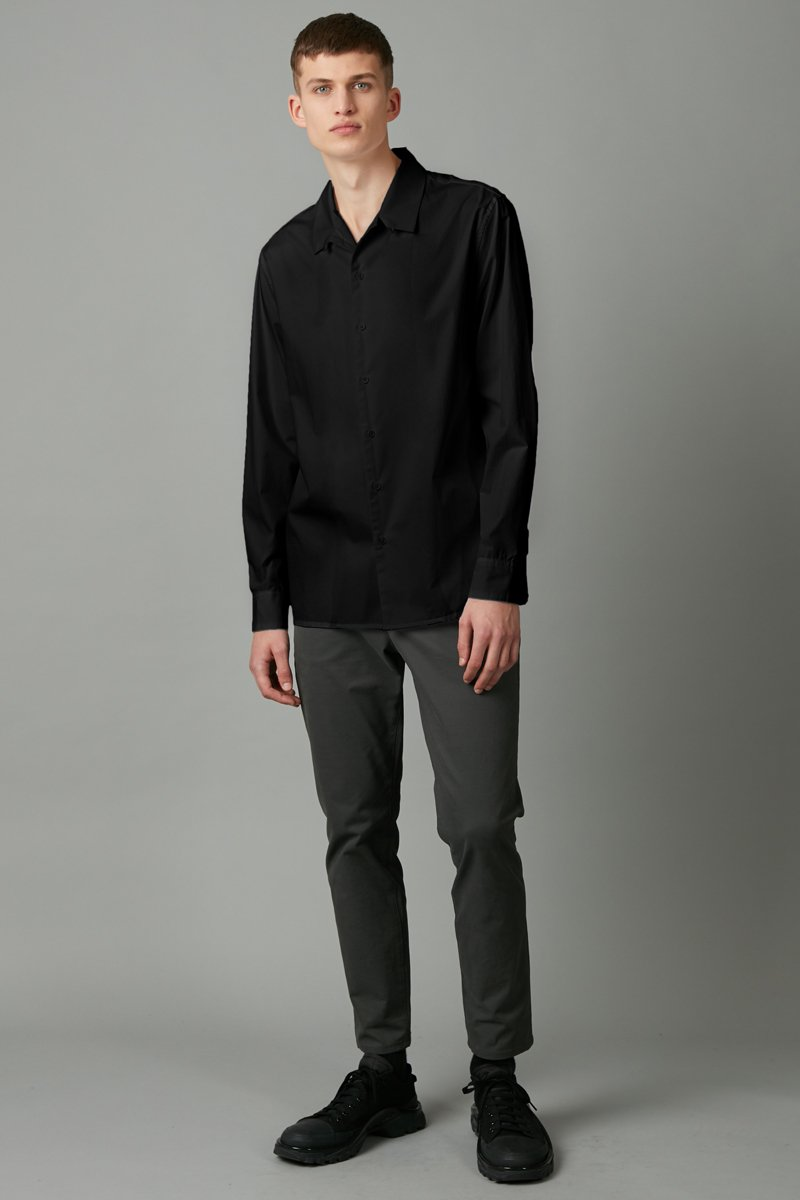 BLACK TRICK COLLAR LONG SLEEVE SHIRT - Nique Clothing