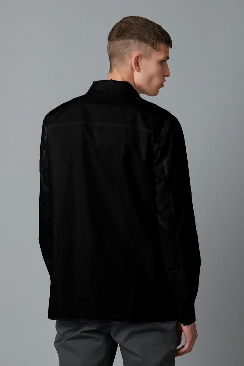 BLACK TRICK COLLAR LONG SLEEVE SHIRT