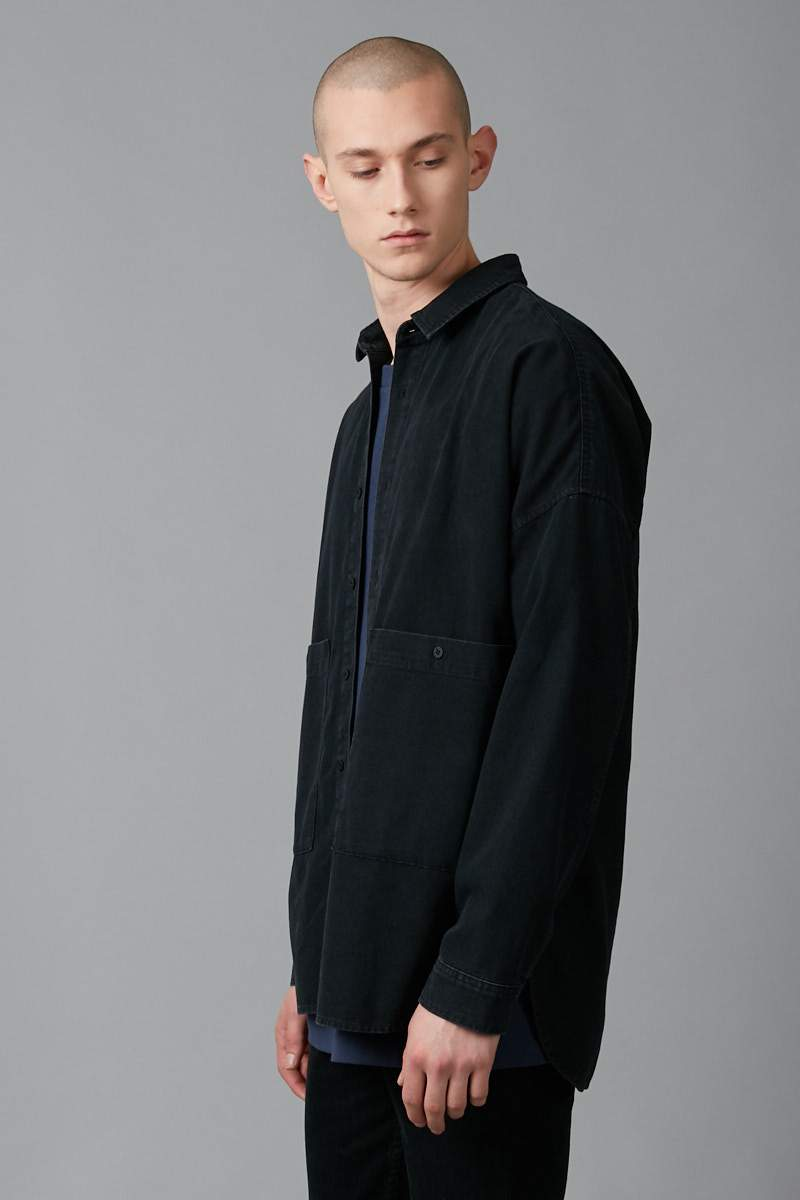 BLACK STEADY DENIM LONG SLEEVE COTTON SHIRT - Nique Clothing