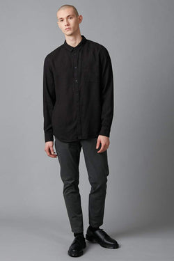 BLACK SUNG LINEN REG LS SHIRT - Nique Clothing