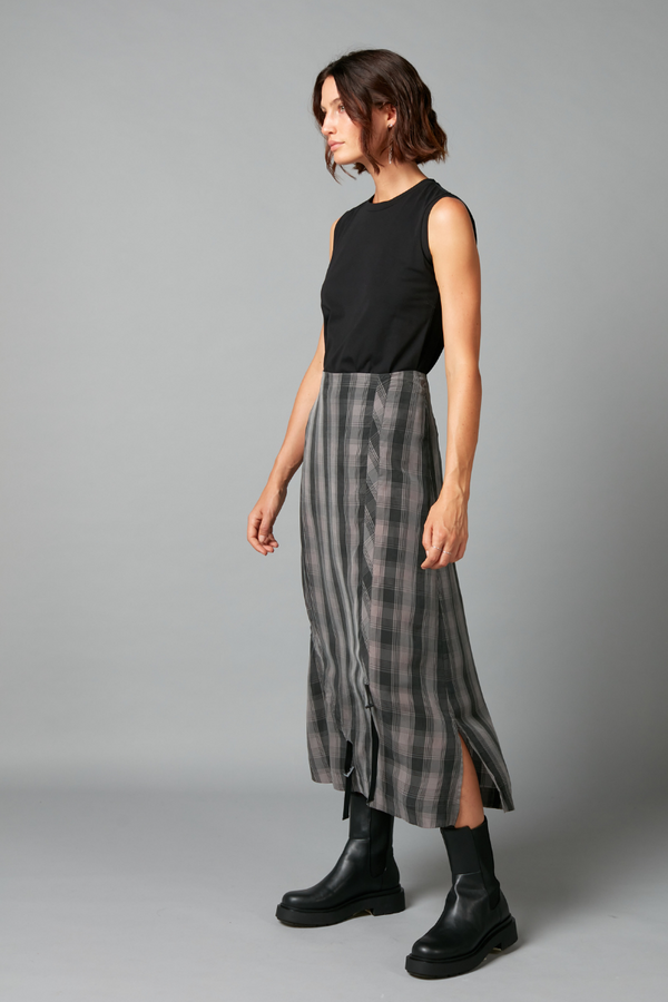 Charcoal and Black Check Kira Cupro Skirt