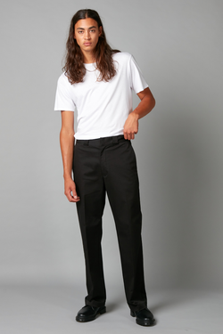 Black Linear Stretch Cotton Straight Leg Pants