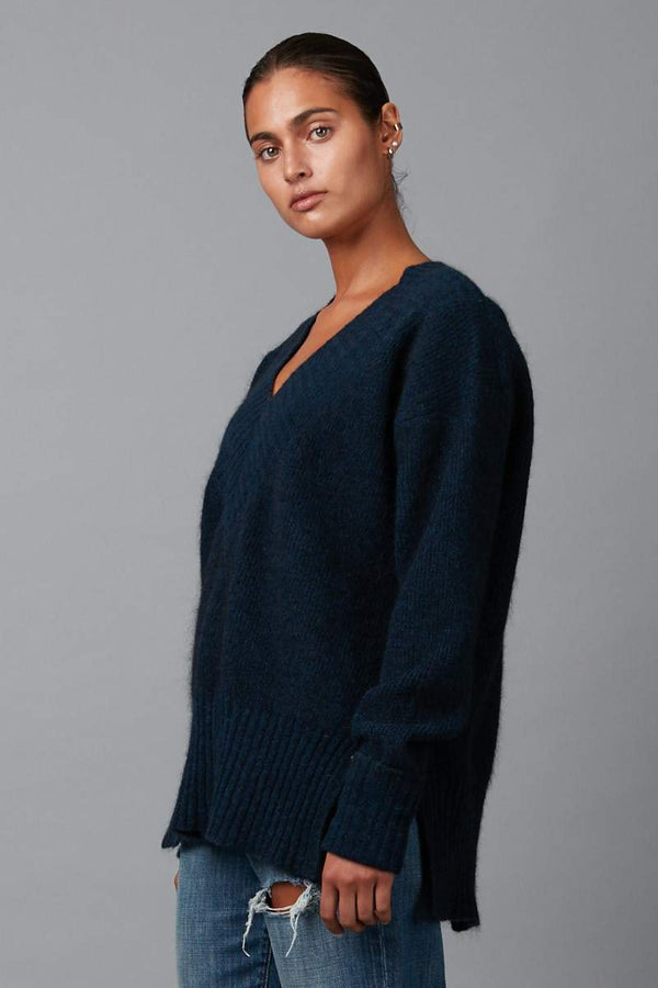DEEP BLUE ANGLE OVERSIZED JUMPER - Nique Clothing