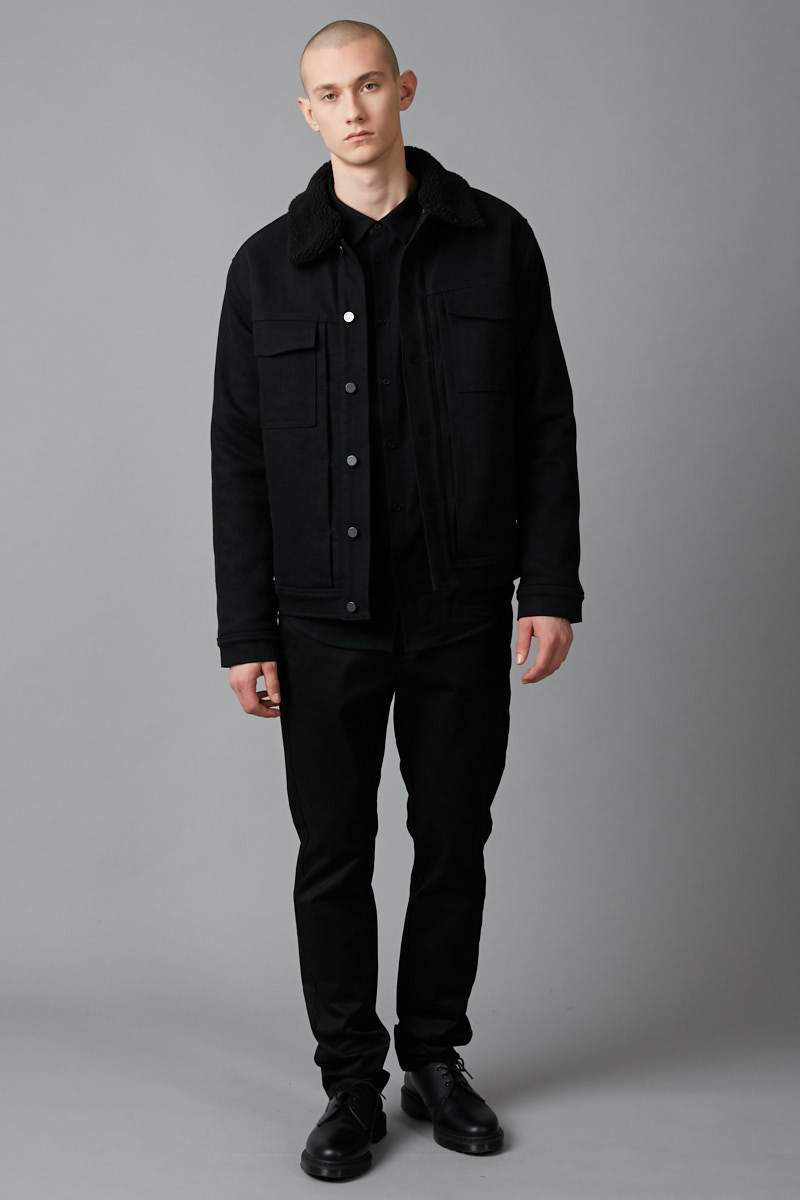 BLACK TATSUNO DENIM SHERPA JACKET