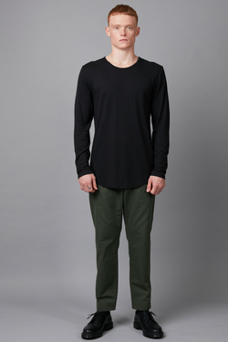 Black Aalto Bamboo Cotton Long Sleeve T-Shirt