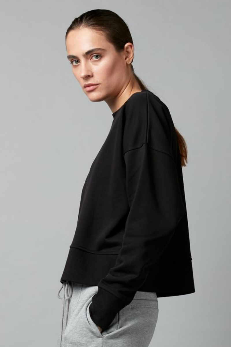 Black Aerith Cotton Cropped Sweater