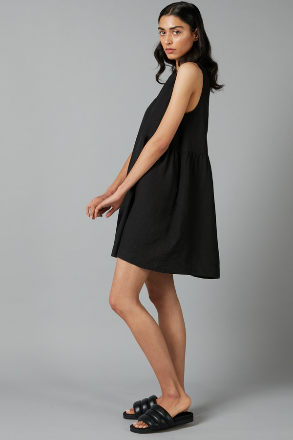 Black Fumita Geode Linen Mini Dress