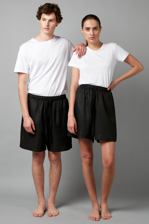 Black Yasei Linen Pull On Unisex Shorts