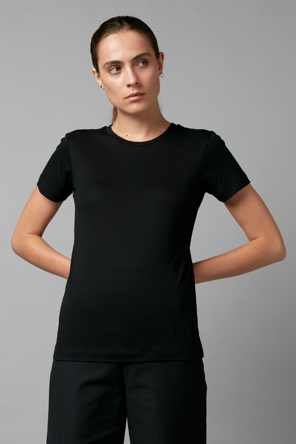 Black Rinji Cotton Modal Tee