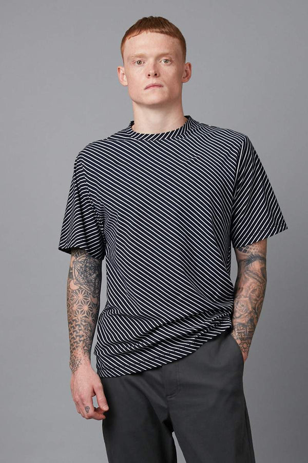 NAVY DIAGONAL STRIPE COTTON TSHIRT - Nique Clothing