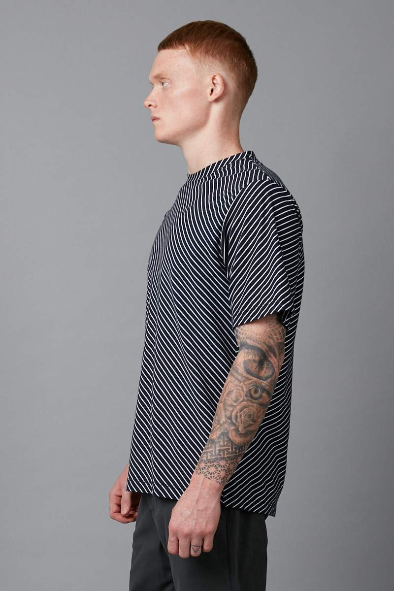 NAVY DIAGONAL STRIPE COTTON TSHIRT